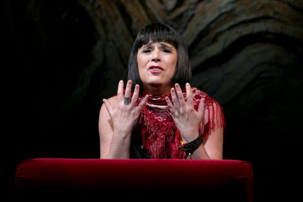 Eve Ensler performing In the Body of the World, directed by Diane Paulus, at the American Repertory Theater.