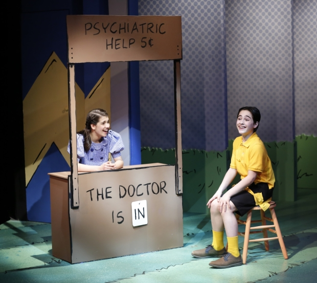 Mavis Simpson-Ernst as Lucy and Joshua Colley as Charlie Brown in the York Theatre Company's production of You're a Good Man, Charlie Brown.