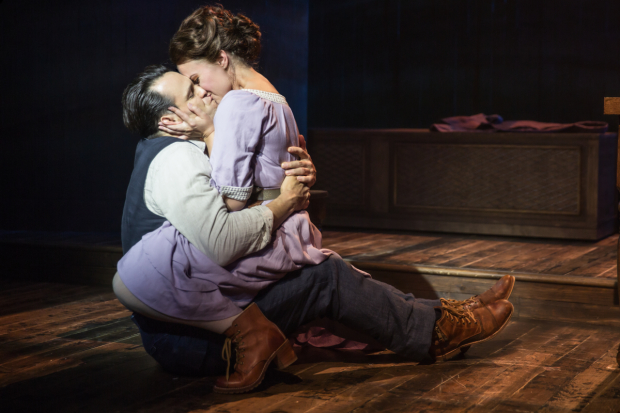 Matt Bogart and Whitney Bashor share the stage in Himself and Nora at the Minetta Lane Theatre.