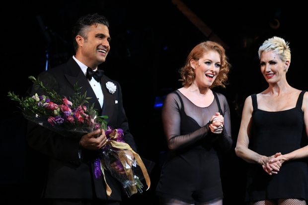 Flowers in hand, Jaime Camil is welcomed to the company by leading ladies Dylis Croman and Amra-Faye Wright.