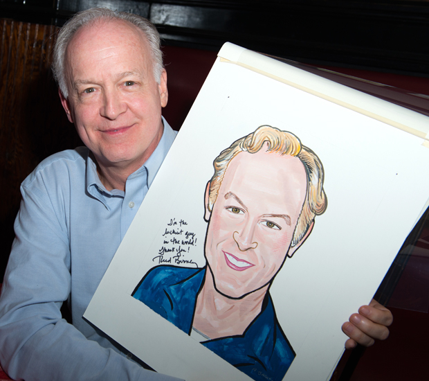 Reed Birney shows off his brand new Sardi's caricature.