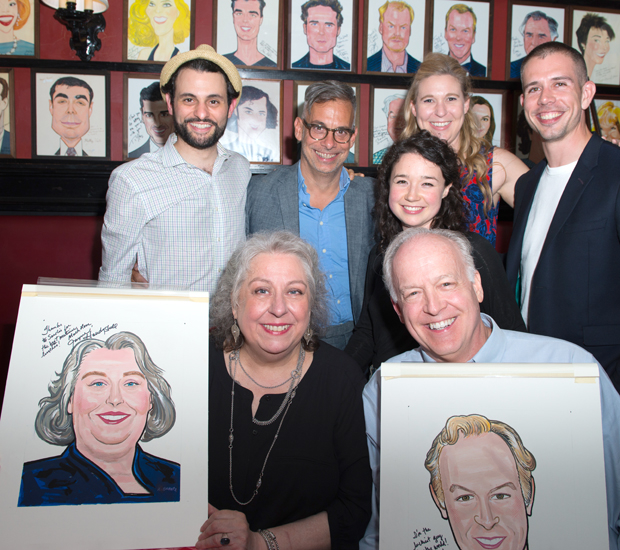 Arian Moayed, Joe Mantello, Sarah Steele, Cassie Beck, and Stephen Karam join Jayne Houdyshell and Reed Birney at their Sardi's unveiling.