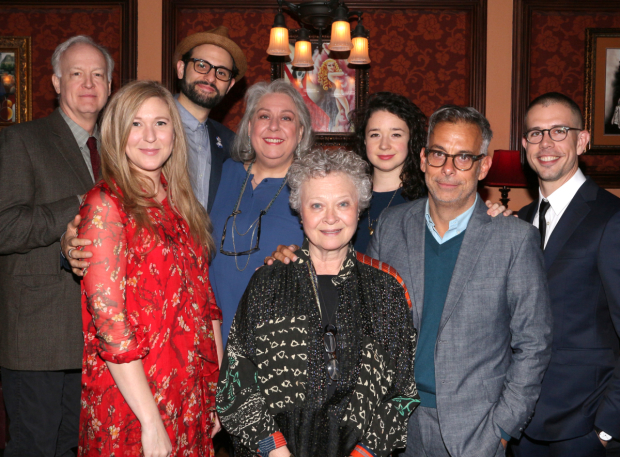 The Humans actors Reed Birney, Cassie Beck, Arian Moayed, Jayne Houdyshell, Lauren Klein, Sarah Steele, director Joe Mantello, and playwright Stephen Karam.
