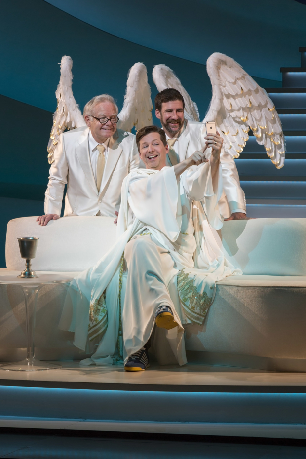 James Gleason plays Gabriel, Sean Hayes plays God, and David Josefberg plays Michael in An Act of God.