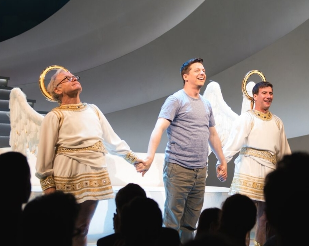 James Gleason, Sean Hayes, and David Josefsberg take their bow on the opening night of An Act of God at the Booth Theatre.