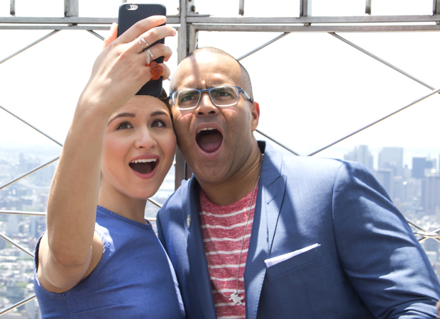 Hamilton Tony nominees Phillipa Soo and Christopher Jackson take a selfie at the top of the Empire State Building.