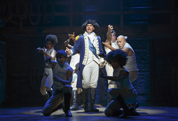 Christopher Jackson as George Washington with the ensemble of Hamilton onstage at the Richard Rodgers Theatre.