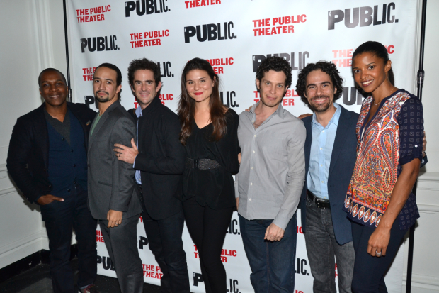 Andy Blankenbuehler (third from right) with Leslie Odom Jr., Lin-Manuel Miranda, Phillipa Soo, Thomas Kail, Alex Lacamoire, and Renée Elise Goldsberry.