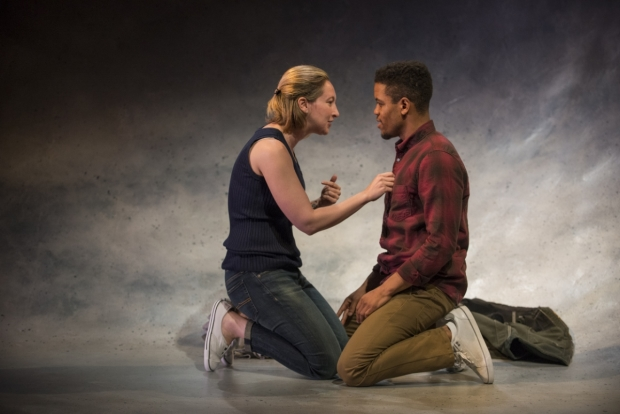 Jessie Fisher and Jon Michael Hill as Marianne and Roland in Nick Payne's Constellations, directed by Jonathan Berry, at Steppenwolf Theatre.