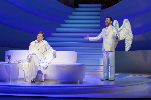 David Josefsberg joins Sean Hayes onstage in An Act of God.