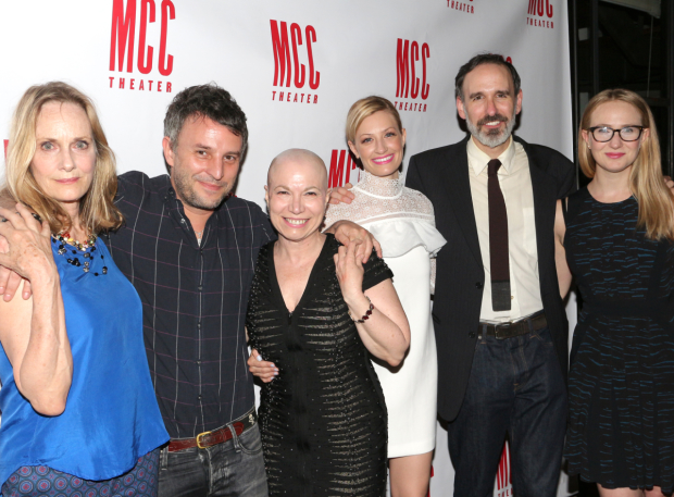 Lisa Emery, Trip Cullman, Jacqueline Sydney, Beth Behrs, Erik Lochtefeld, and Halley Feiffer celebrate their opening night.