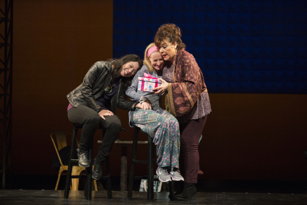 Sandra Tsing Loh, Shannon Holt, and Caroline Aaron in Madwoman In The Volvo at The Pasadena Playhouse.