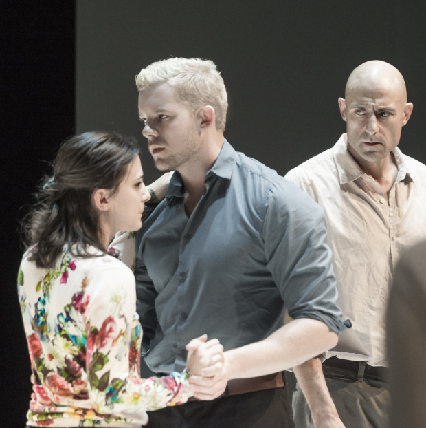 Phoebe Fox, Russell Tovey, and Mark Strong in A View From the Bridge at the Lyceum Theatre.