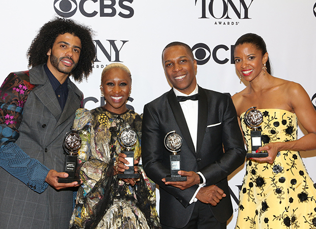 Daveed Diggs, Cynthia Erivo, Leslie Odom Jr., and Renée Elise Goldsberry celebrate their Tony Award wins.