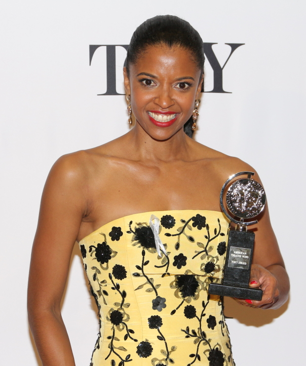 Renée Elise Goldsberry wins the 2016 Tony for Best Performance by an Actress in a Featured Role in a Musical.