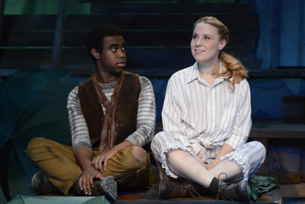 Marc Pierre (Peter) and Erica Spyres (Molly) in Peter and the Starcatcher, directed by Spiro Veloudos, at Lyric Stage Company.