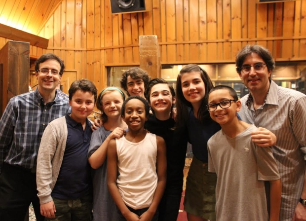 Van Dean (producer), Graydon Peter Yosowitz, Milly Shapiro, Aiden Gemme (rear), Jeremy T. Villas, Joshua Colley, Mavis Simpson-Ernst, Gregory Diaz, and Michael Unger (director) in the recording studio.