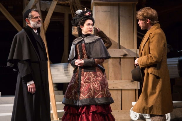Matthew Boston (Shylock), Dani Stoller (Jessica), and William Vaughan (Lorenzo) in Aaron Posner's District Merchants, directed by Michael John Garcés, at Folger Theatre.