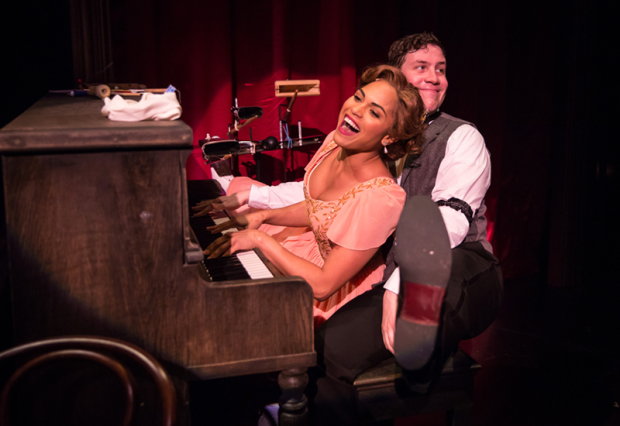 Monica Raymund as Isabella and Adam Wesley Brown in Thaddeus and Slocum: A Vaudeville Adventure, directed by J. Nicole Brooks and Krissy Vanderwarker, at Lookingglass Theatre.