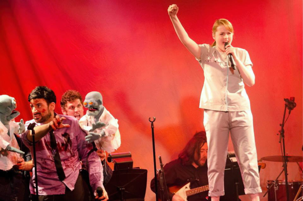 """The 2012 ANT Fest cast of Ludo's Broken Bride sings """"Save Our City""""."""