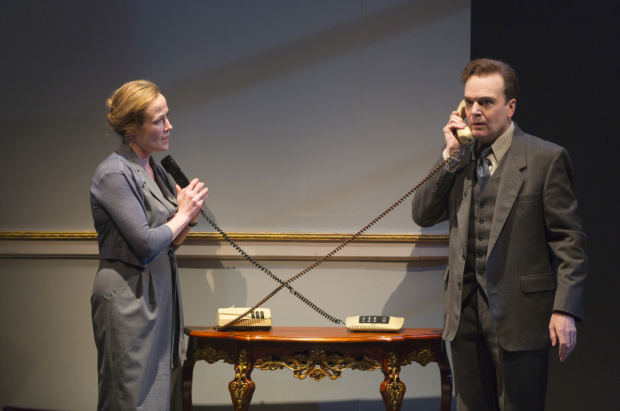 Tony winners Jennifer Ehle and Jefferson Mays star in Oslo at the Mitzi E. Newhouse Theater.