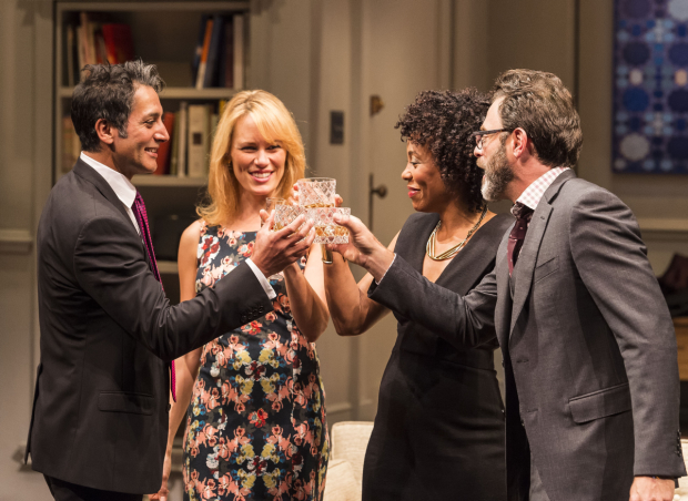 Hari Dhillon, Emily Swallow, Karen Pittman, and J Anthony Crane in Ayad Akhtar's Pulitzer-winning play Disgraced, directed by Kimberly Senior, at the Mark Taper Forum.