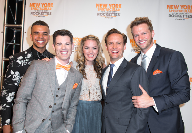 Blaine Alden Krauss, Jacob Ben Widmar, Kacie Sheik, Danny Gardner, and Jeff Pew star in the New York Spectacular at Radio City Music Hall.