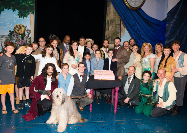 The cast of Finding Neverland toasts 500 performances at the Lunt-Fontanne Theatre.