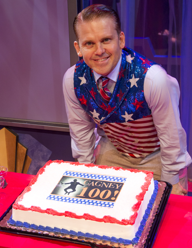 Robert Creighton shows off Cagney's 100th performance cake.