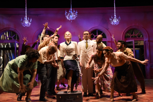 Rachel Zampelli (center) and the cast of Evita, directed by Will Davis, at the Olney Theatre Center.