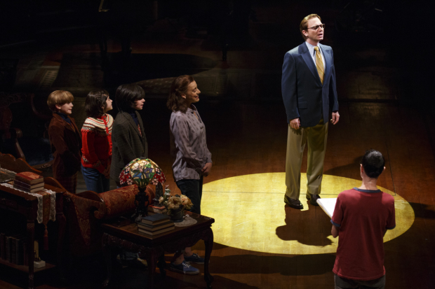 Michael Cerveris (center) and the Broadway cast of Fun Home at Circle in the Square Theatre.