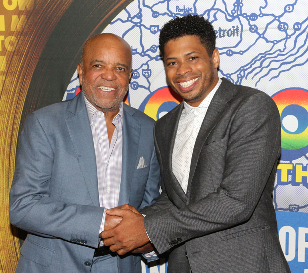Motown founder and creator Berry Gordy poses with Chester Gregory, who plays him in Motown the Musical.