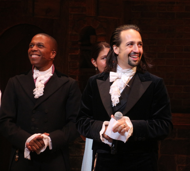 August 6, 2015: Leslie Odom Jr. and Lin-Manuel Miranda are thrilled to open Hamilton on Broadway.