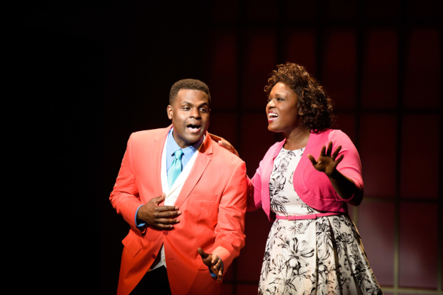 Juan Winans as BeBe and Deborah Joy Winans as CeCe in Born for This: The BeBe Winans Story, directed by Charles Randolph-Wright, at Arena Stage.