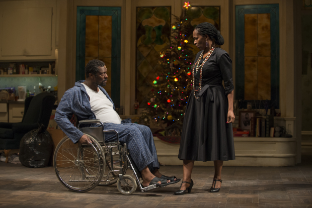 Eamonn Walker and Lily Mojekwu in Between Riverside and Crazy, directed by Yasen Peyankov, at Steppenwolf Theatre.