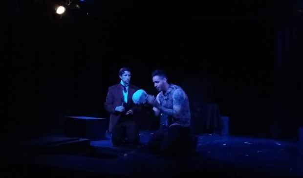 Greg Pragel as Horatio and Matt de Rogatis as Hamlet in Nine Theatricals production of Hamlet: An Exploration.