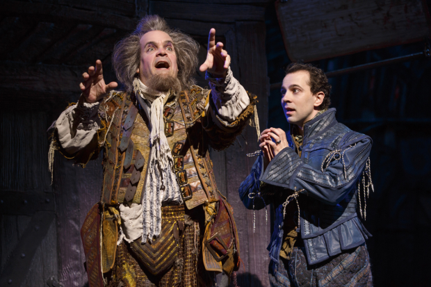 Rob McClure (right) as Nick Bottom with Brad Oscar as Nostradamus in Something Rotten!