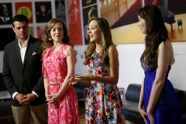 Laura Osnes (third from right), with her Carnegie Hall mentees Juan Ayala, Lauren Lichac, and Lara Akal.