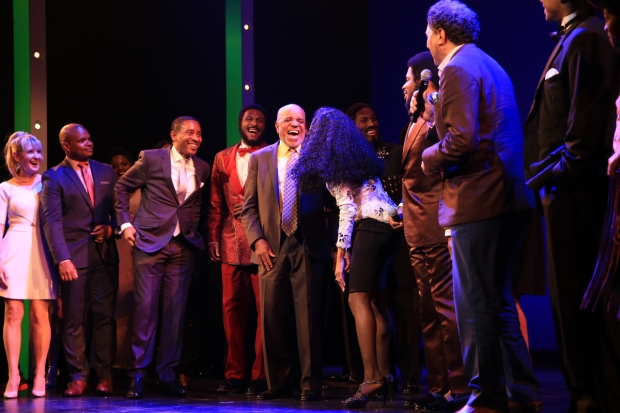 Berry Gordy (center) and the cast of Motown The Musical take their opening-night bows at the Nederlander Theatre.