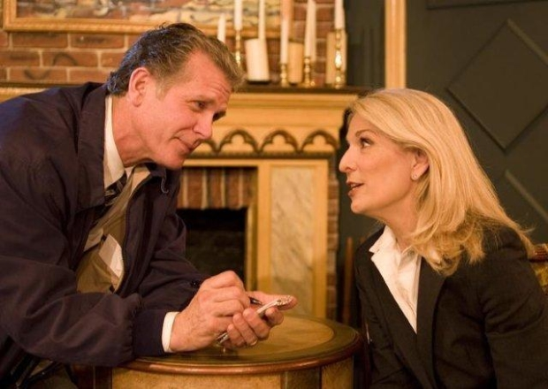 Psychiatrist Margaret Brent (played by Catherine Russell) is interviewed by Inspector Ascher (Richard Shoberg) in a scene from Perfect Crime.