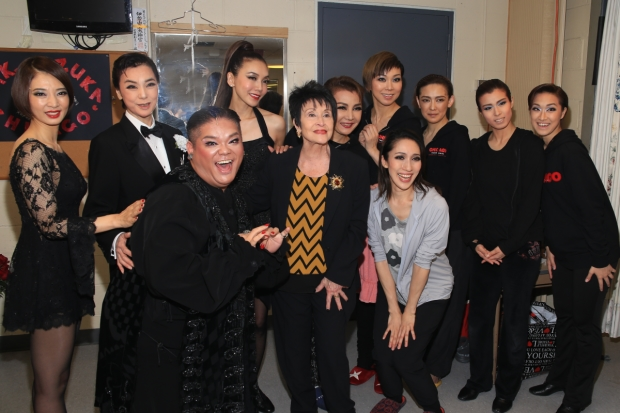 A group photo to welcome Chita Rivera backstage.