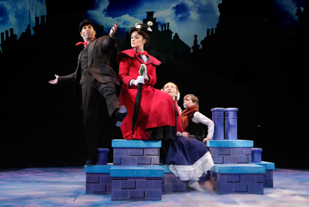 Brad Bradley (Bert) and Kerry Conte (Mary Poppins) with Scarlett Keene-Connole (Jane Banks) and Jake Ryan Flynn (Michael Banks) in North Shore Music Theatre's production of Mary Poppins, directed by Kevin P. Hill.
