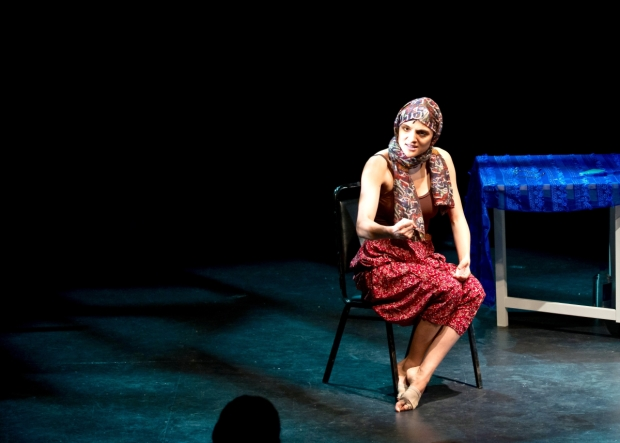 Aya Aziz stars in her solo musical, Eh Dah? Questions for My father, directed by Corinne Proctor, for NYMF at the June Havoc Theatre.