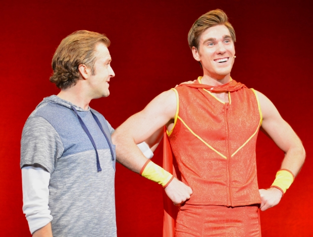 Alan Gillespie and Michael Glavan star in Ultimate Man!, directed by Charles Abbott, for NYMF at the Pearl Theatre.