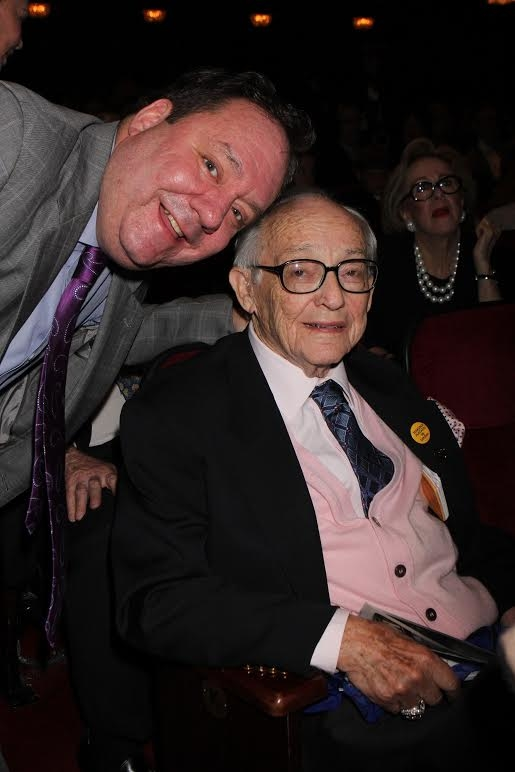 James M. Nederlander Sr. (seated) with his son, James L. Nederlander (standing) at the 4th Annual National High School Musical Theater Awards in 2012.