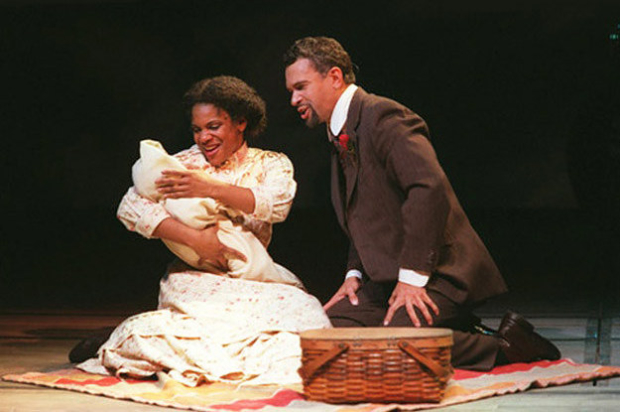 Audra McDonald and Brian Stokes Mitchell in the original Broadway cast of Ragtime. Mitchell will serve as the narrator in the August 8 Ellis Island concert performance.