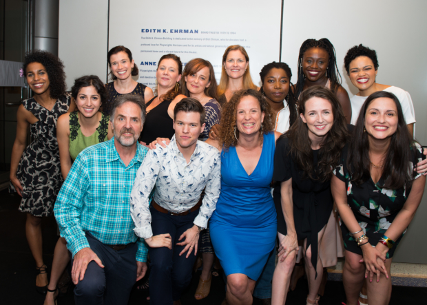 Playwrights Horizons Artistic Director Tim Sanford, director Will Davis, Clubbed Thumb Producing Artistic Director Maria Striar, and playwright Jaclyn Backhaus join their cast for a photo.
