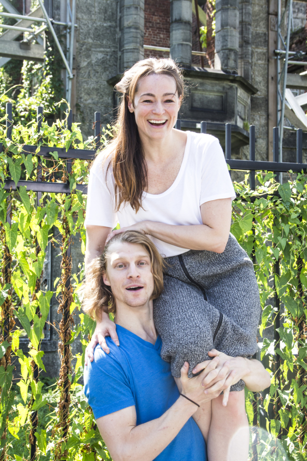 In front of the Renwick Smallpox Hospital on Roosevelt Island, Anna Bates and Colin Bates recreate a scene from Lucy Prebble's The Effect.