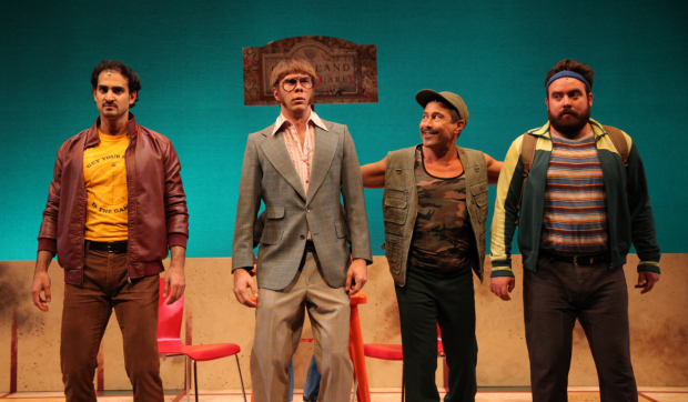 Nathan Lucrezio, Travis Kent, Herman Sebek, and Philip Jackson Smith in The Last Word, directed by Brett Sullivan, for NYMF at the Duke on 42nd Street.
