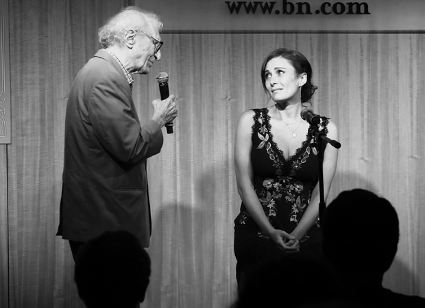 Sheldon Harnick and Laura Benanti share the stage at a concert celebration of the new She Loves Me cast recording.